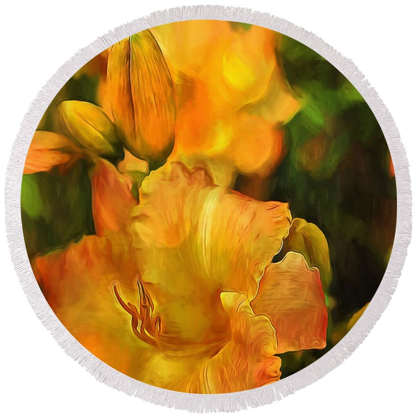 Lily Round Beach Towel featuring the painting Bokah Lily by Theresa Campbell