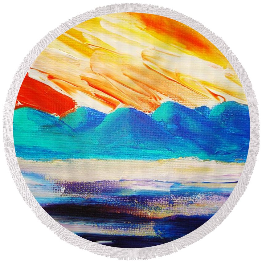 Bright Round Beach Towel featuring the painting Bold Day by Melinda Etzold