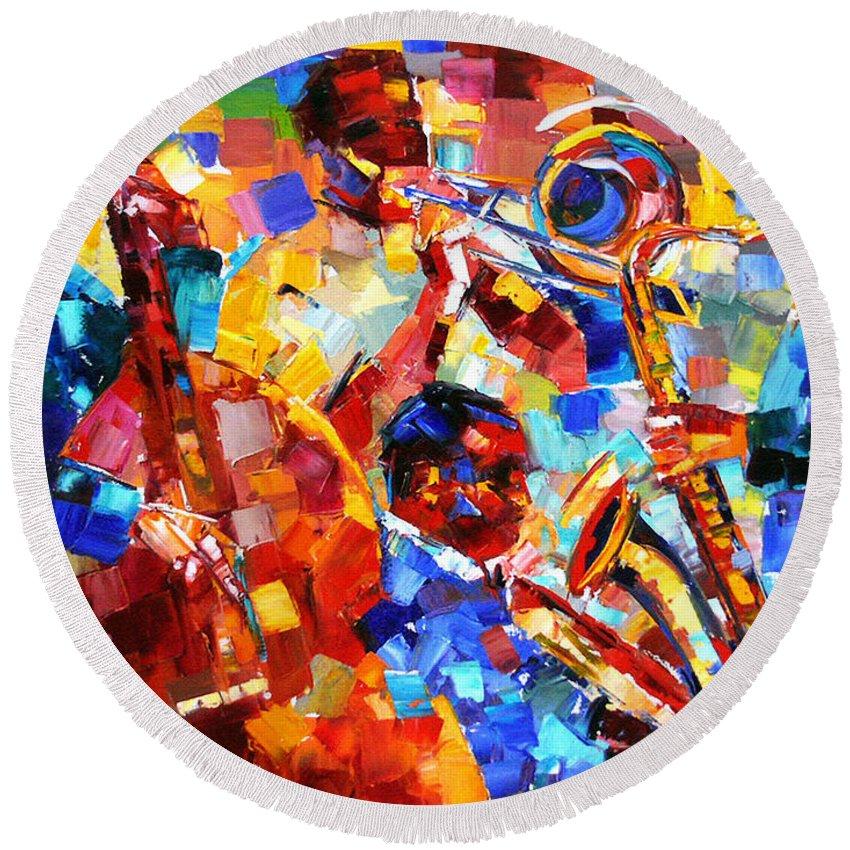 Jazz Round Beach Towel featuring the painting Bold Jazz Quartet by Debra Hurd