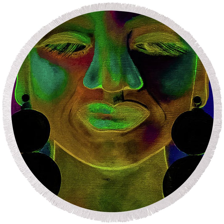 Woman Round Beach Towel featuring the digital art Boldly Me #1 by Carrine Lovelace