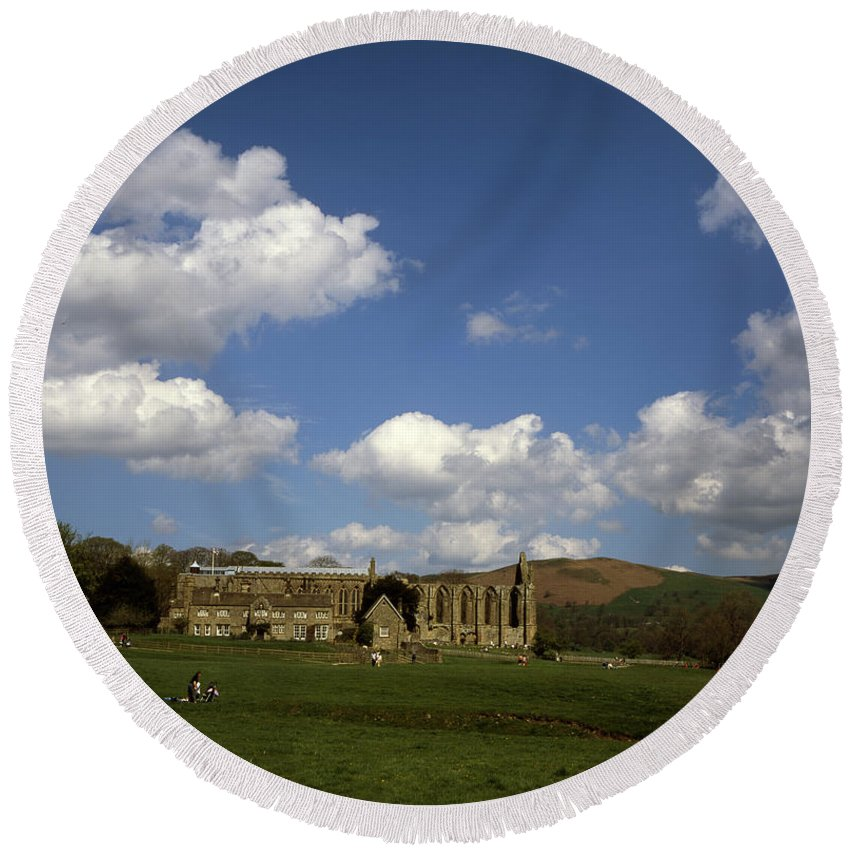 Bolton Abbey Round Beach Towel featuring the photograph Bolton Abbey Wharfedale Near Skipton North Yorkshire England by Michael Walters