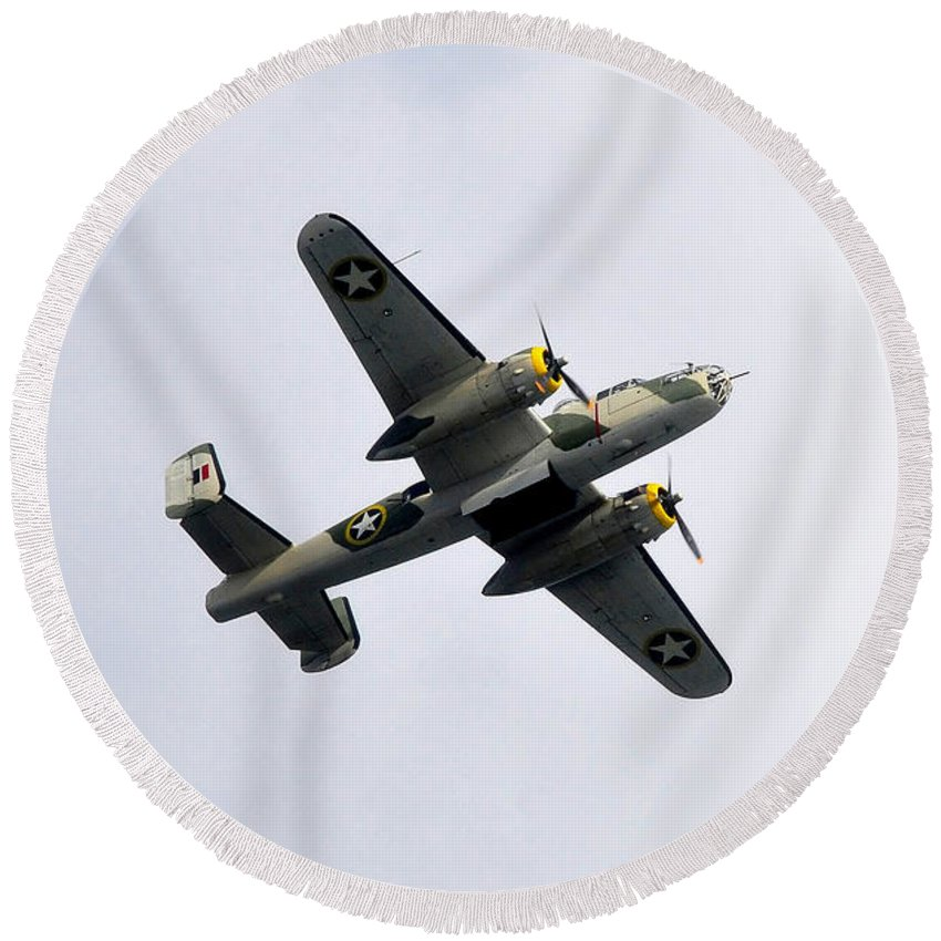 North American B 25 Mitchel Bomber Round Beach Towel featuring the photograph Bombs Away by David Lee Thompson