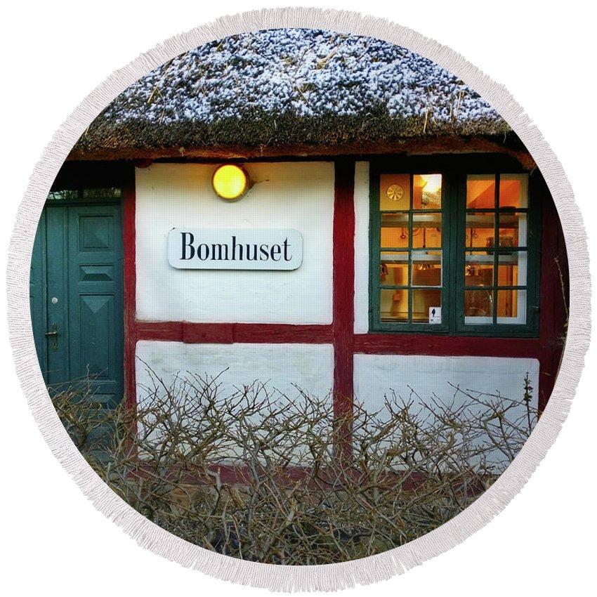 Farm House Round Beach Towel featuring the photograph Bomhuset by Hans Erik Nielsen