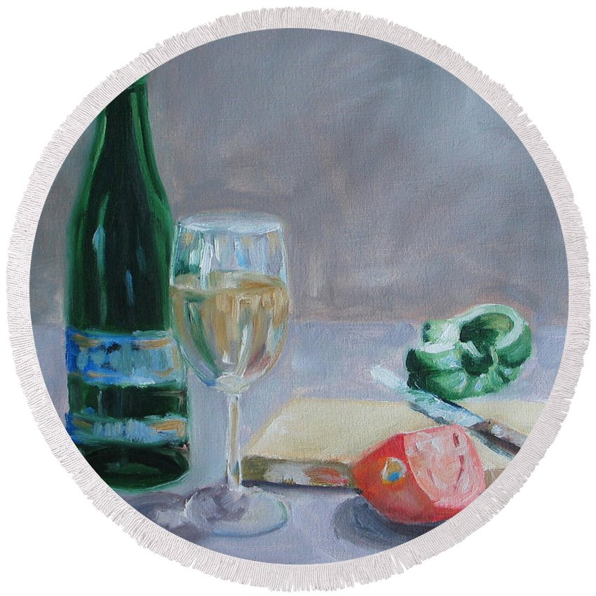 Wine Round Beach Towel featuring the painting Bon Appetite by Paul Walsh