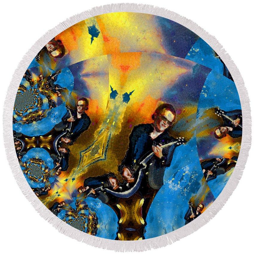 Music Round Beach Towel featuring the painting Bonamassa Mania by Miki De Goodaboom