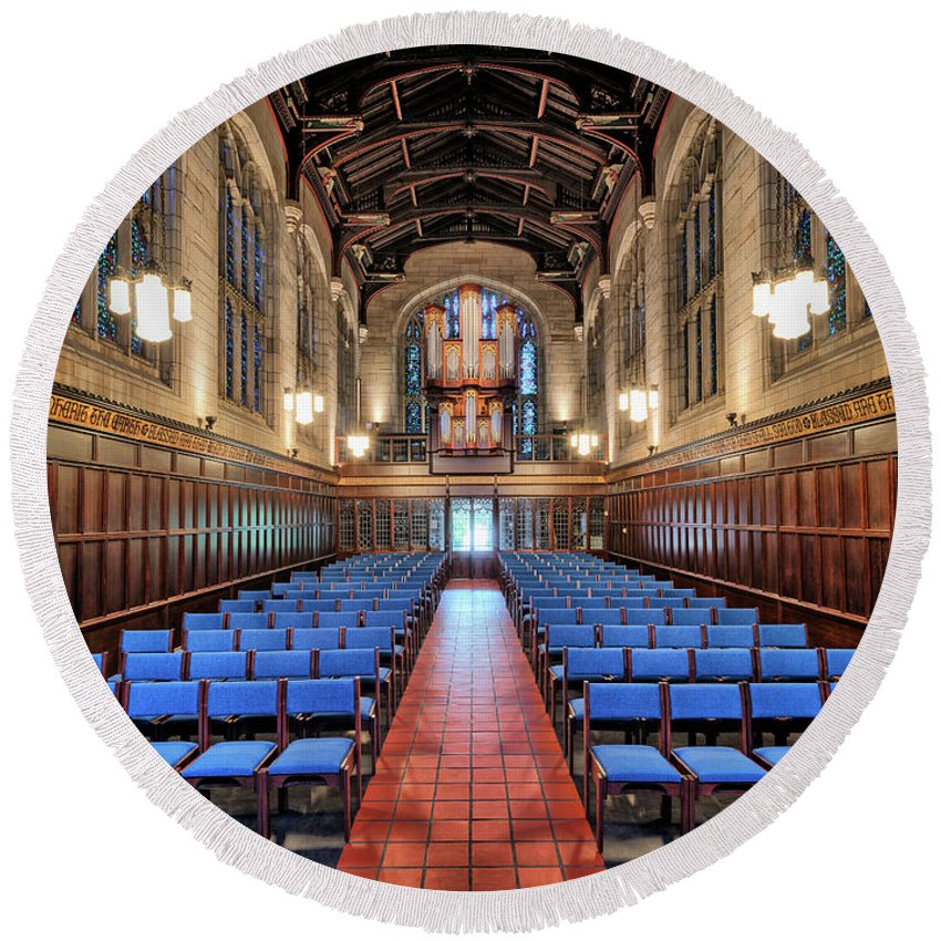 Architecture Detail Round Beach Towel featuring the photograph Bond Chapel Pipes View by John Williams