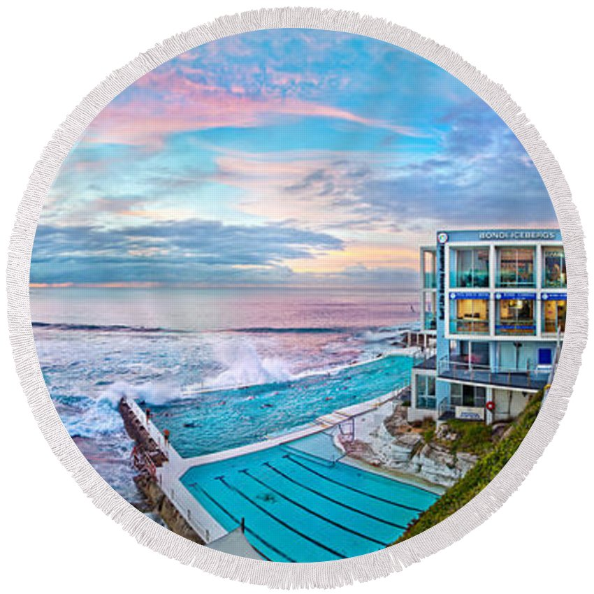 Sydney Round Beach Towel featuring the photograph Bondi Beach Icebergs by Az Jackson