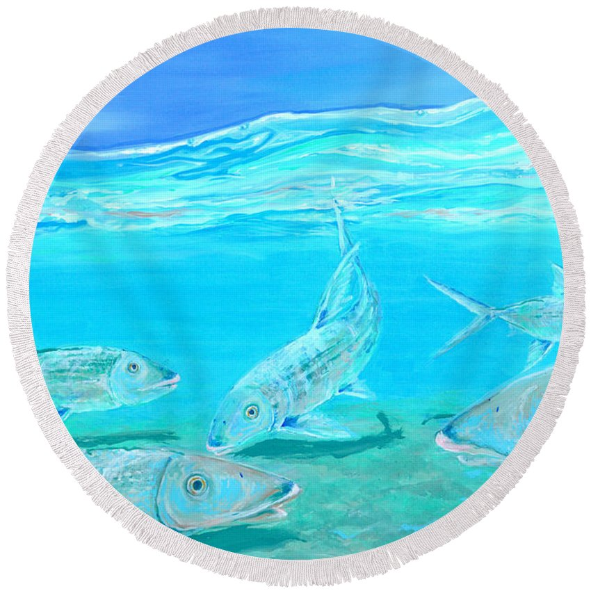 Beach Round Beach Towel featuring the painting Bonefish by Paola Correa de Albury