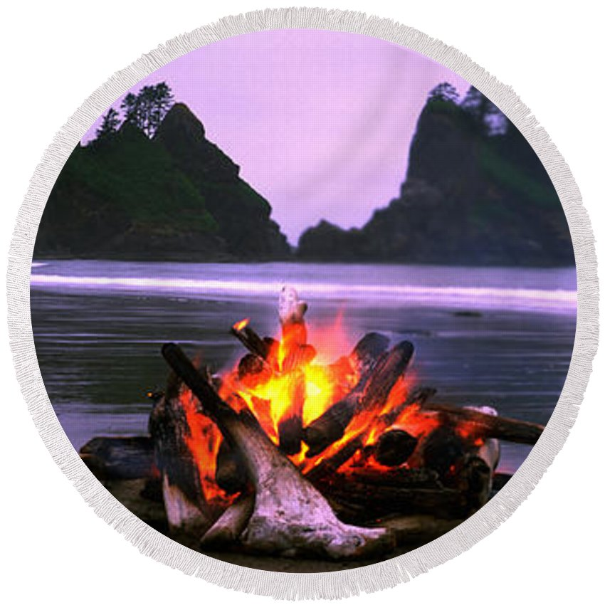 Photography Round Beach Towel featuring the photograph Bonfire On The Beach, Point Of The by Panoramic Images