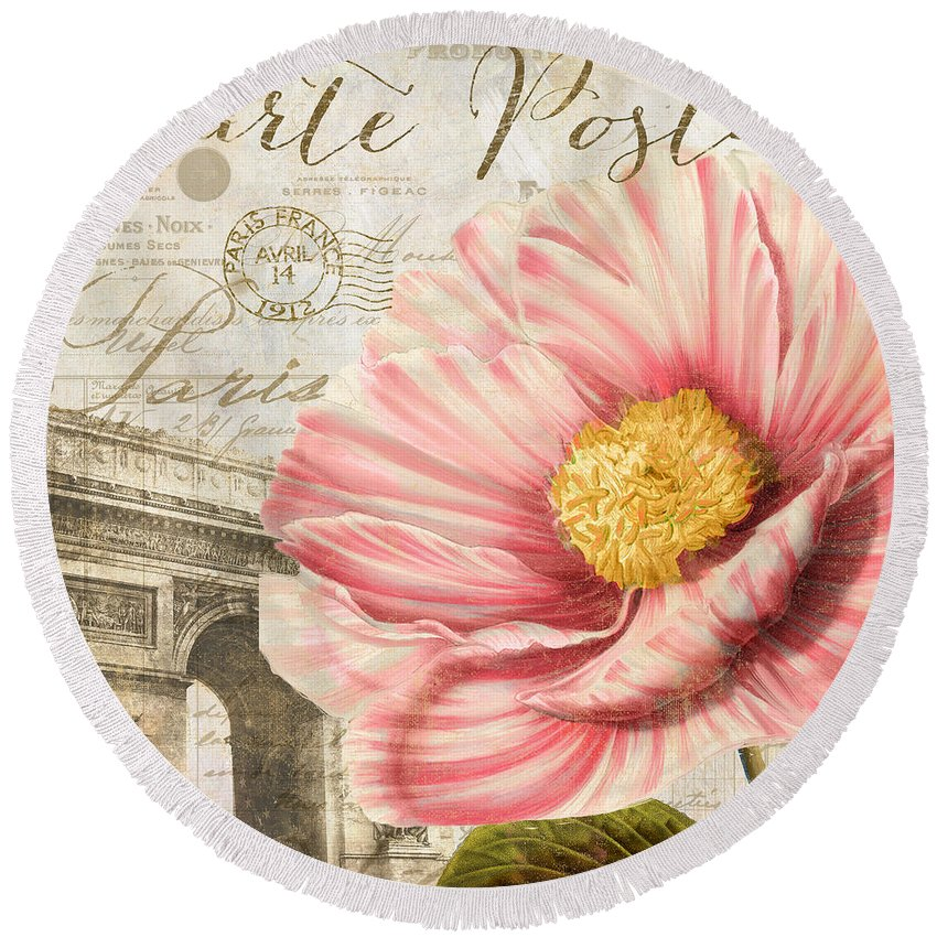 Peony Round Beach Towel featuring the painting Bonjour I by Mindy Sommers