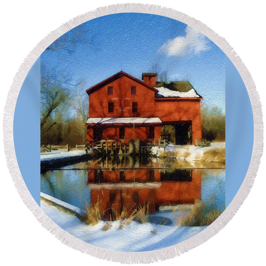 Bonneyville Mill Round Beach Towel featuring the photograph Bonneyville In Winter by Sandy MacGowan