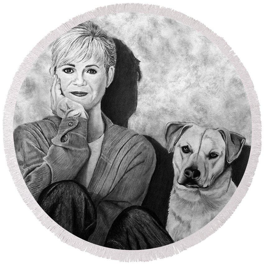 Bonnie Hunt And Charlie Round Beach Towel featuring the drawing Bonnie Hunt And Charlie by Peter Piatt