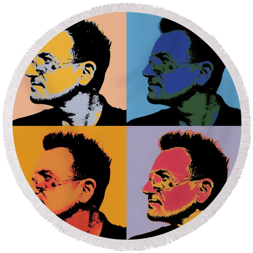 Bono Pop Art Round Beach Towel featuring the painting Bono Pop Panels by Dan Sproul