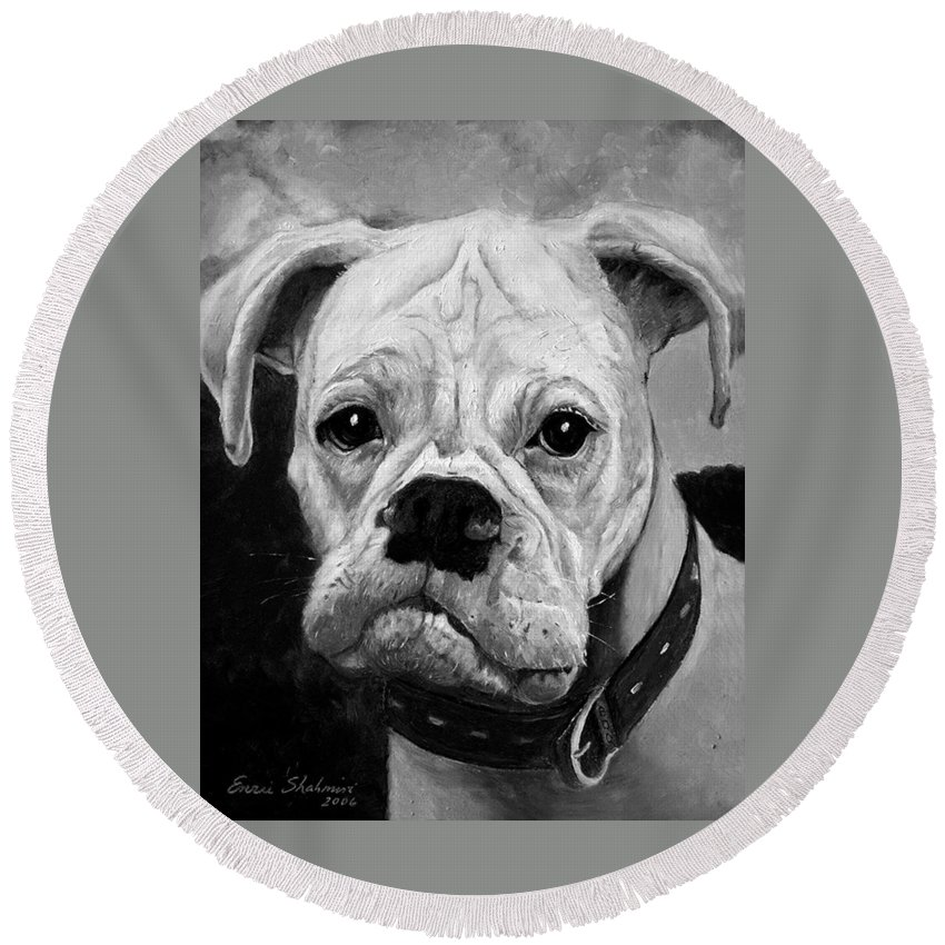 Boxer Round Beach Towel featuring the painting Boo The Boxer by Portraits By NC