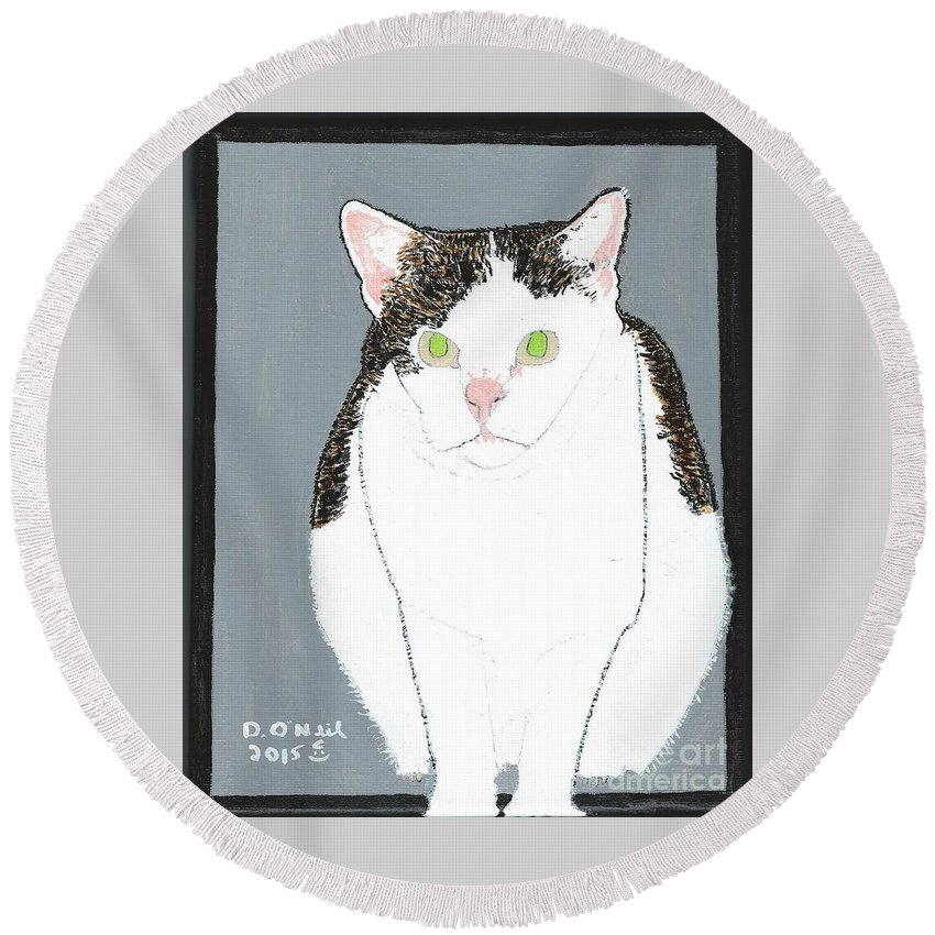 Boogie Round Beach Towel featuring the painting Boogie by Dennis ONeil