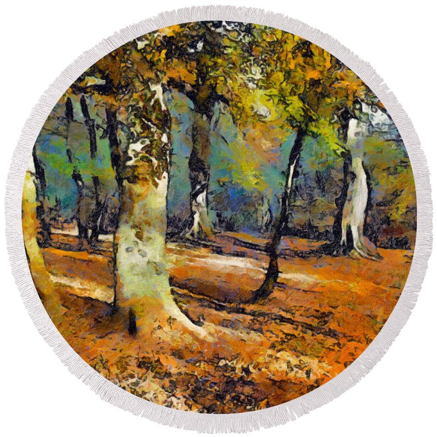 Woods Round Beach Towel featuring the painting Booker Woods by Jon Delorme