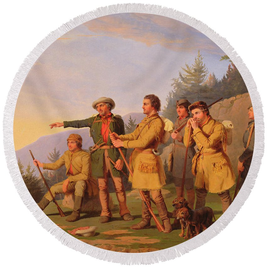 Daniel Boone Round Beach Towel featuring the painting Boone's First View Of Kentucky by William Tylee Ranney