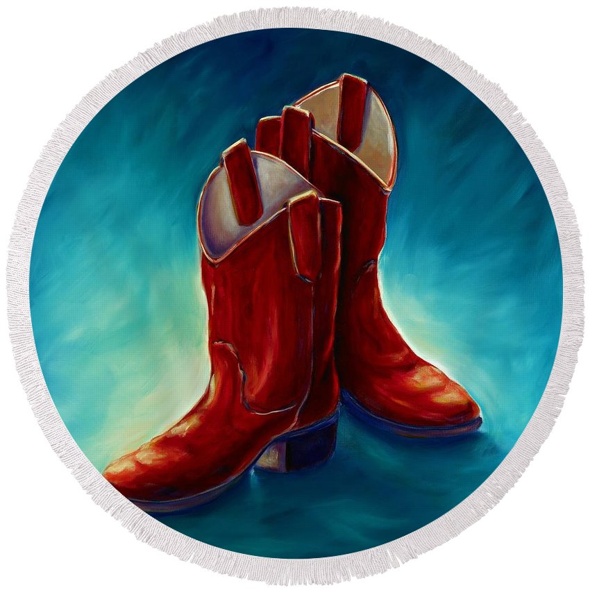 Boots Round Beach Towel featuring the painting Boots by Shannon Grissom