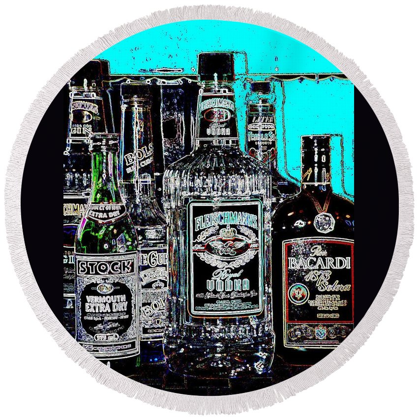 Bottles Round Beach Towel featuring the digital art Boozy Line Up With Aqua by Anita Burgermeister