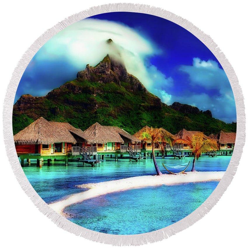 Bora Bora Round Beach Towel featuring the photograph Bora Bora by Pixabay