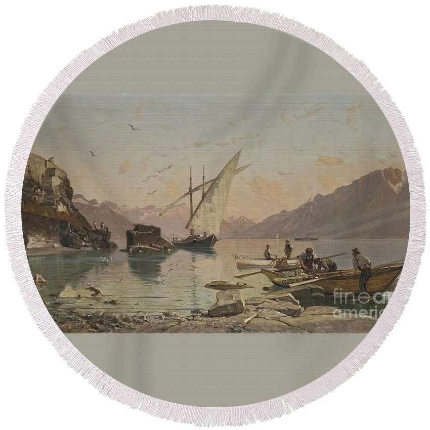 Fran�ois Bocion 1828 - 1890 Bord Du Lac A Rivaz Round Beach Towel featuring the painting Bord Du Lac A Rivaz by Celestial Images