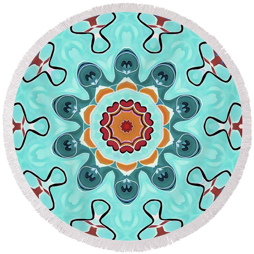 Mandala Art Round Beach Towel featuring the painting Born by Jeelan Clark