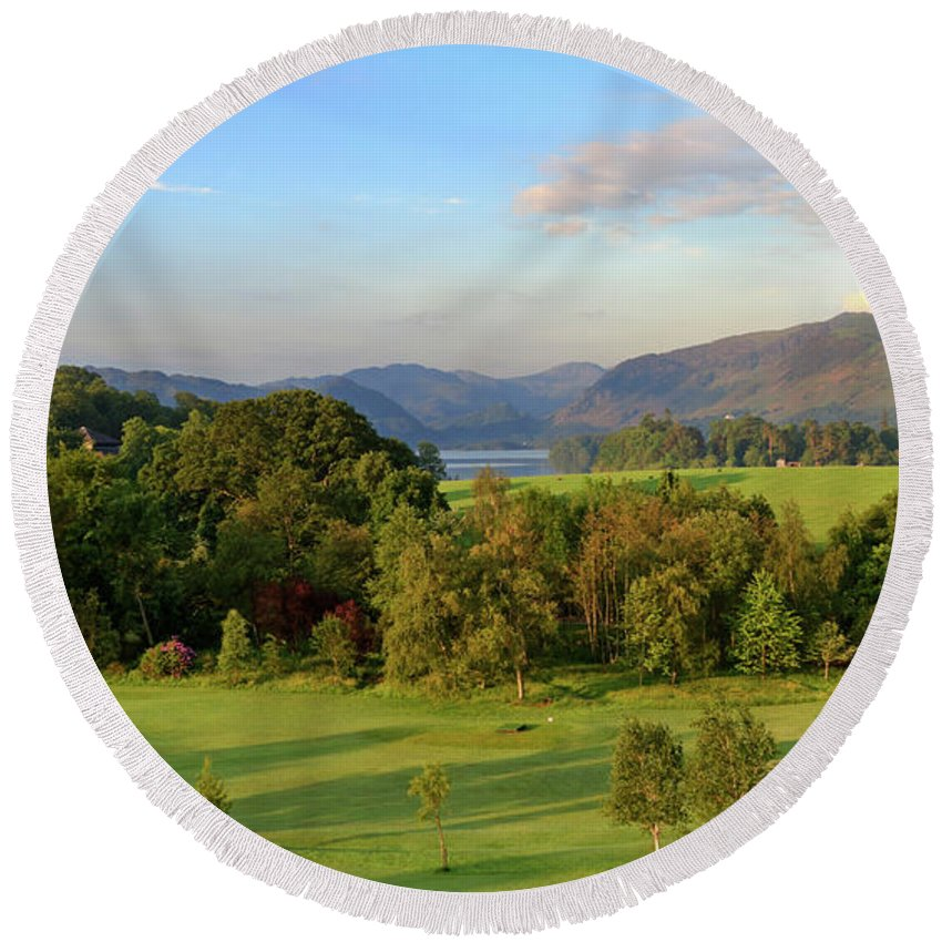 Catbells Round Beach Towel featuring the photograph Borrowdale At Dawn by Louise Heusinkveld