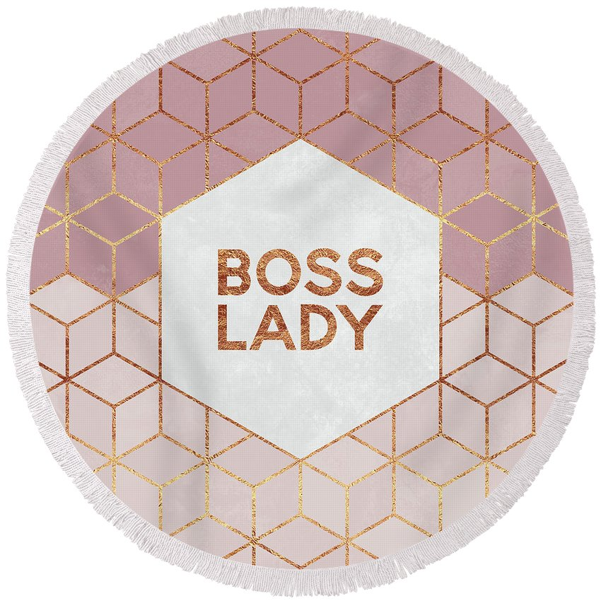 Graphic Round Beach Towel featuring the digital art Boss Lady by Elisabeth Fredriksson