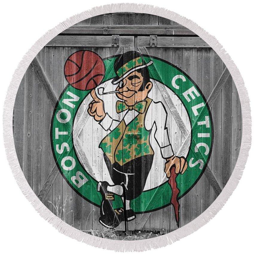 Celtics Round Beach Towel featuring the photograph Boston Celtics Barn Doors 2 by Joe Hamilton