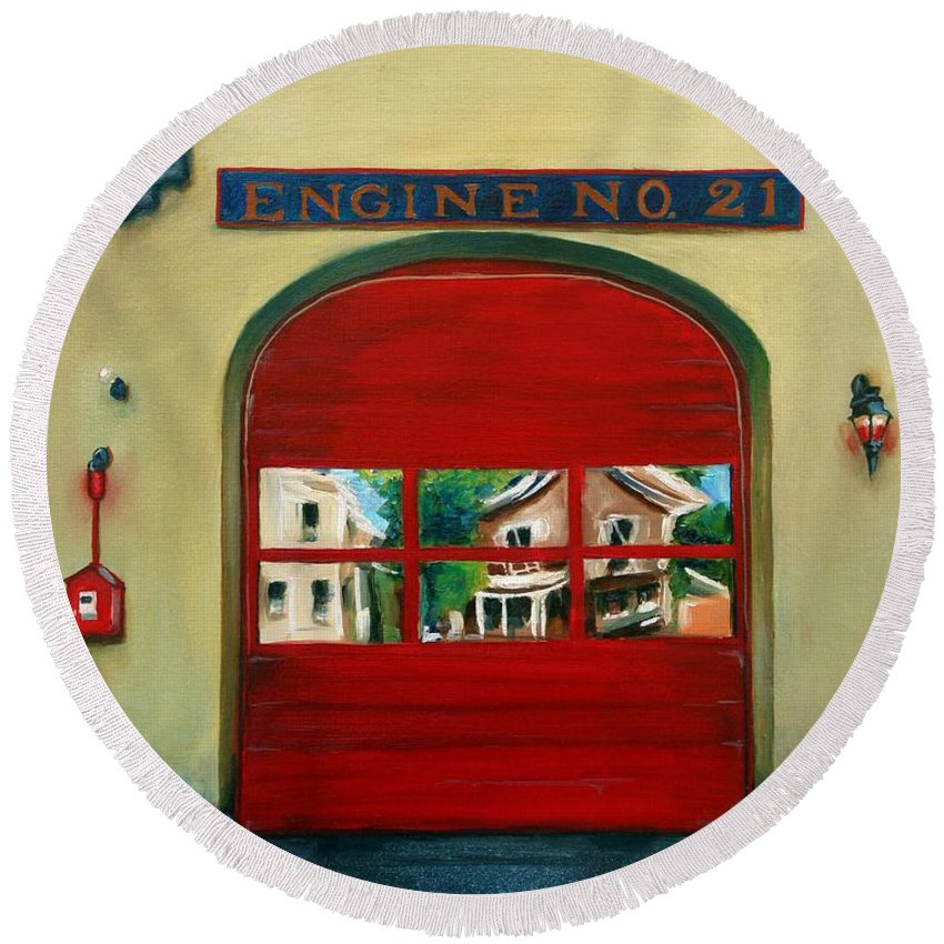 Fire House Round Beach Towel featuring the painting Boston Fire Engine 21 by Paul Walsh