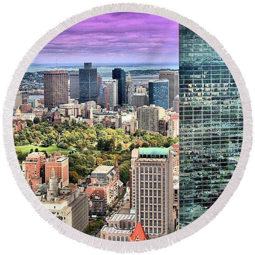 Boston Round Beach Towel featuring the photograph Boston From Above by DJ Florek
