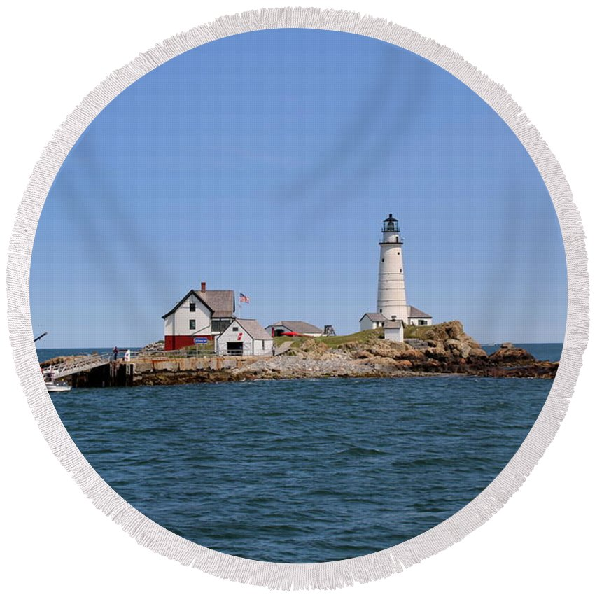 Boston Round Beach Towel featuring the photograph Boston Light by Lennie Malvone