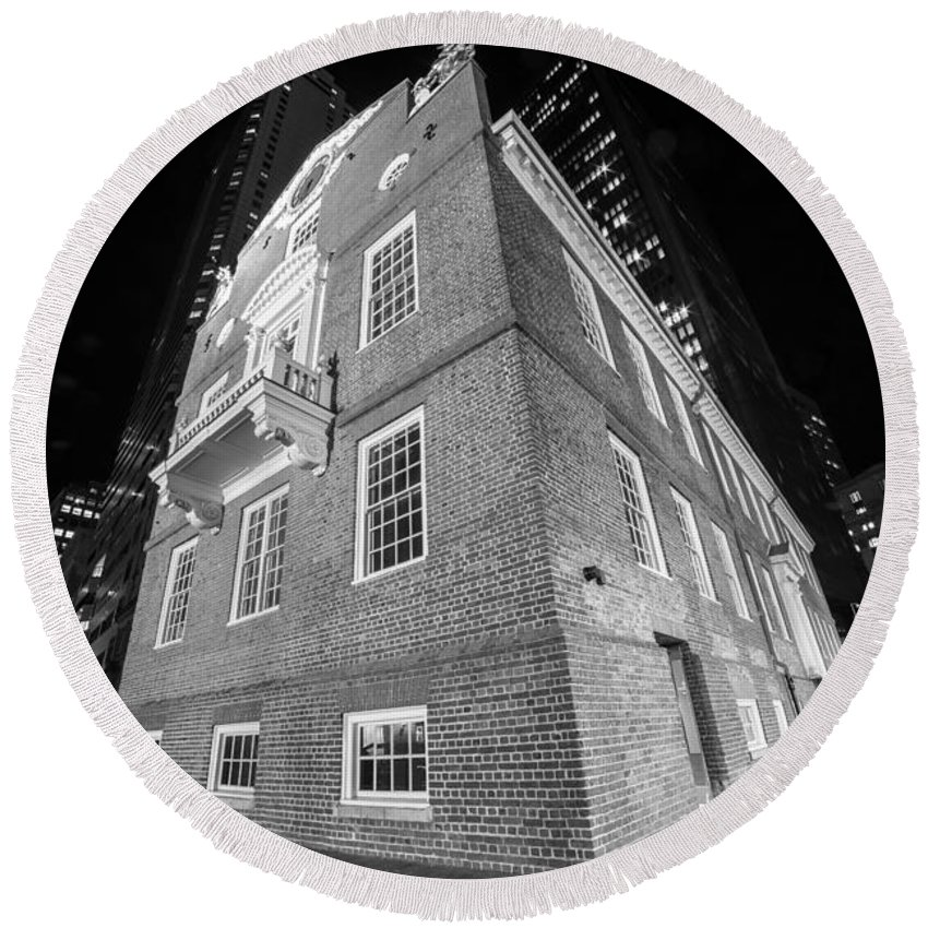 Boston Round Beach Towel featuring the photograph Boston Old State House Boston Ma Angle Black And White by Toby McGuire