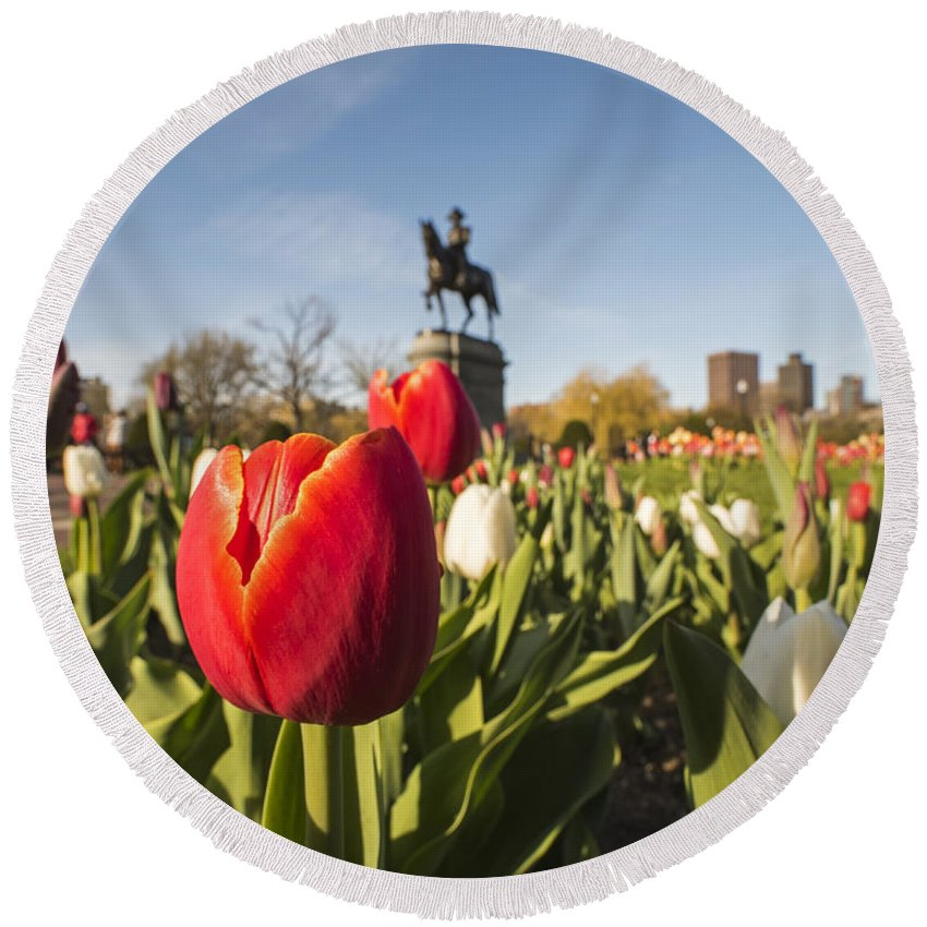 Boston Round Beach Towel featuring the photograph Boston Public Garden Tulips And George Washington Statue by Toby McGuire