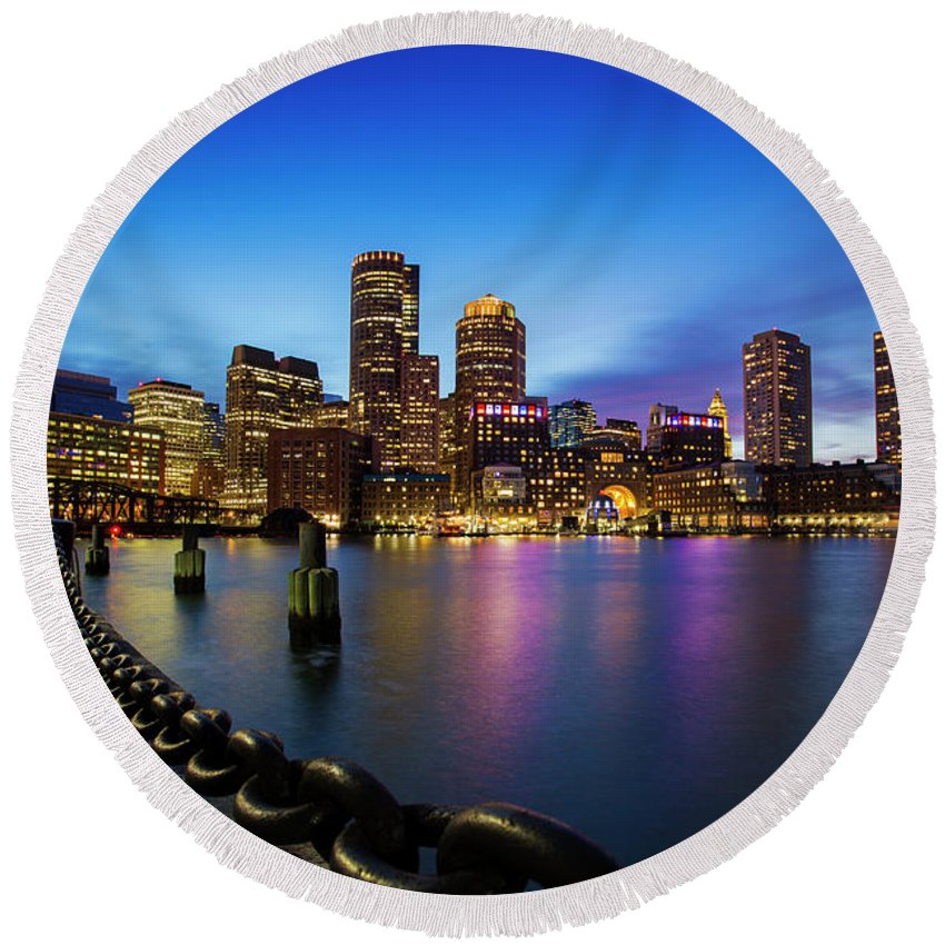America Round Beach Towel featuring the photograph Boston Skyline At Dusk by Mircea Costina Photography