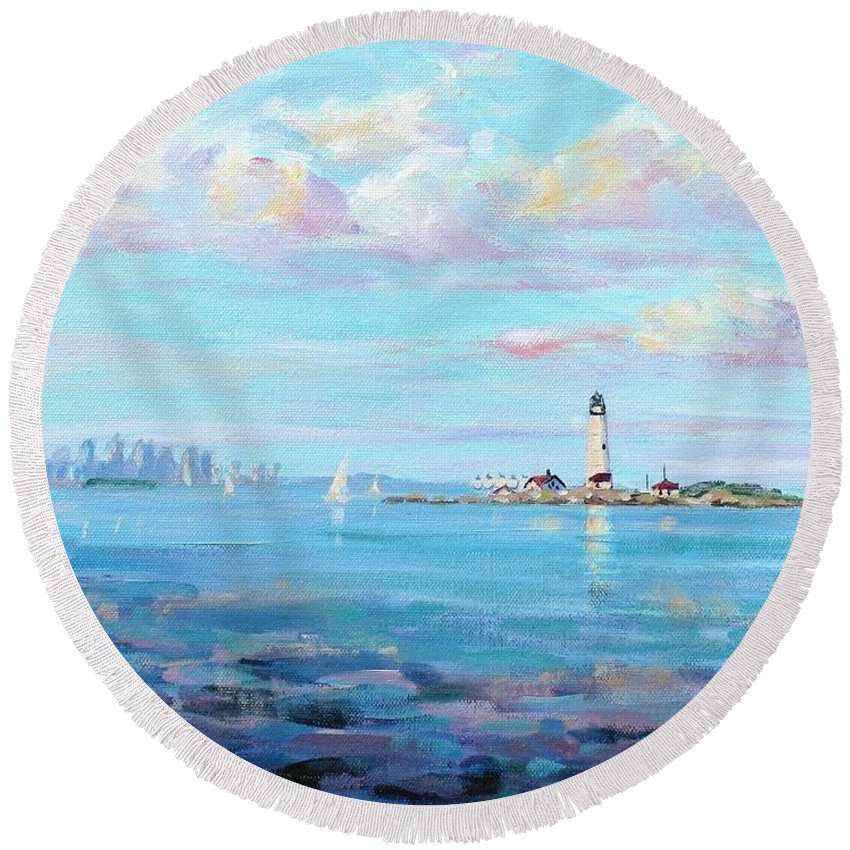 Seascape Round Beach Towel featuring the painting Boston Skyline by Laura Lee Zanghetti