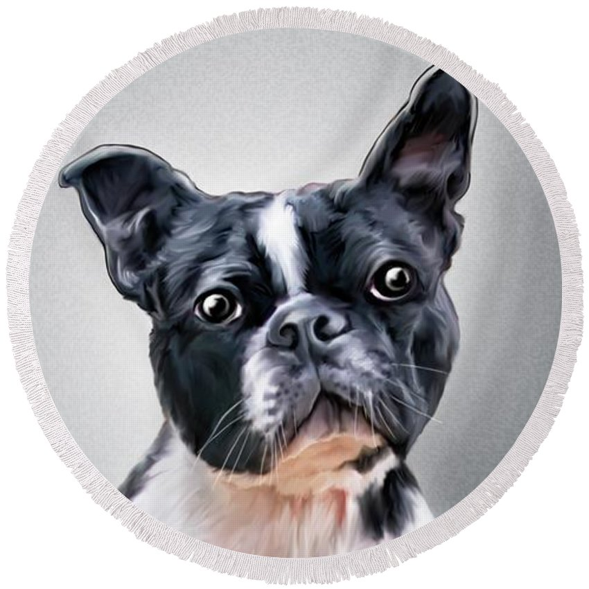 Spano Round Beach Towel featuring the painting Boston Terrier By Spano by Michael Spano