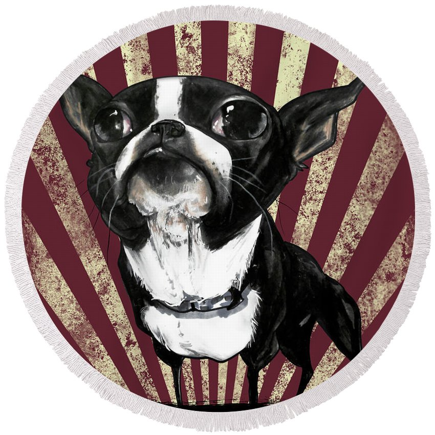Boston Terrier Round Beach Towel featuring the drawing Boston Terrier Revolution by John LaFree
