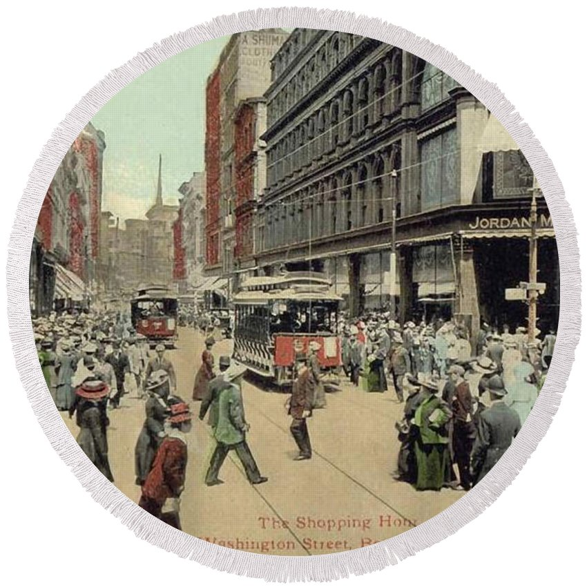1910 Round Beach Towel featuring the photograph Boston: Washington Street by Granger