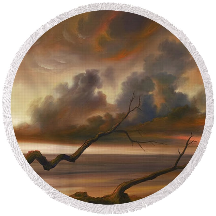 Ocean Round Beach Towel featuring the painting Botany Bay by James Christopher Hill