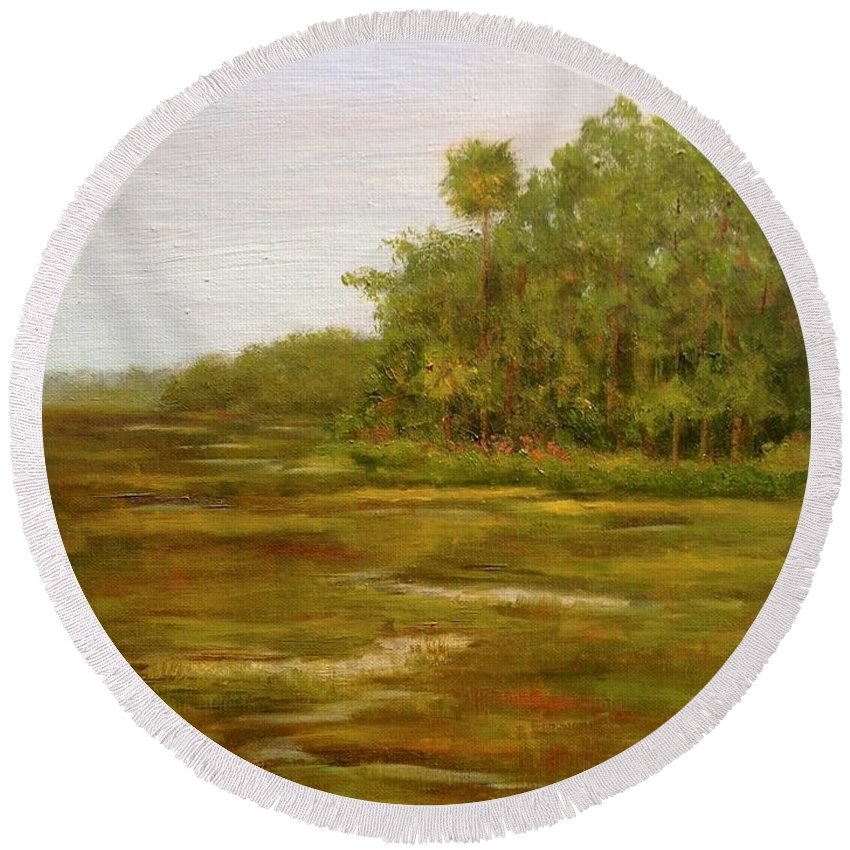 Botany Round Beach Towel featuring the painting Botany Bay Plantation Marsh by Rosie Phillips