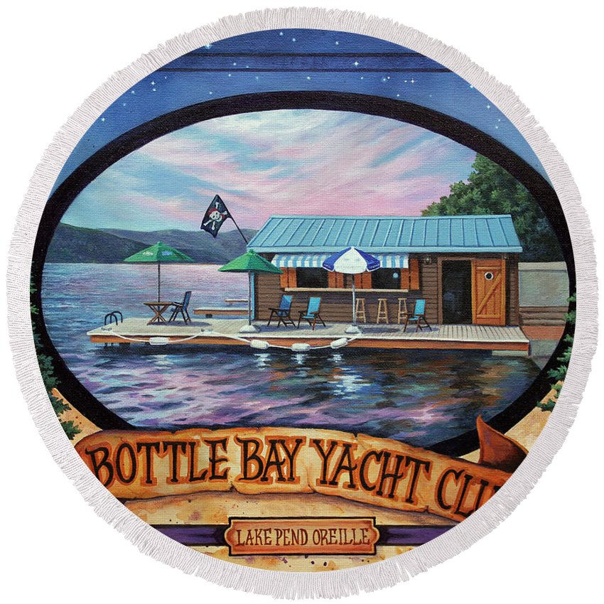 Lake Round Beach Towel featuring the painting Bottle Bay Yacht Club by Lucy West