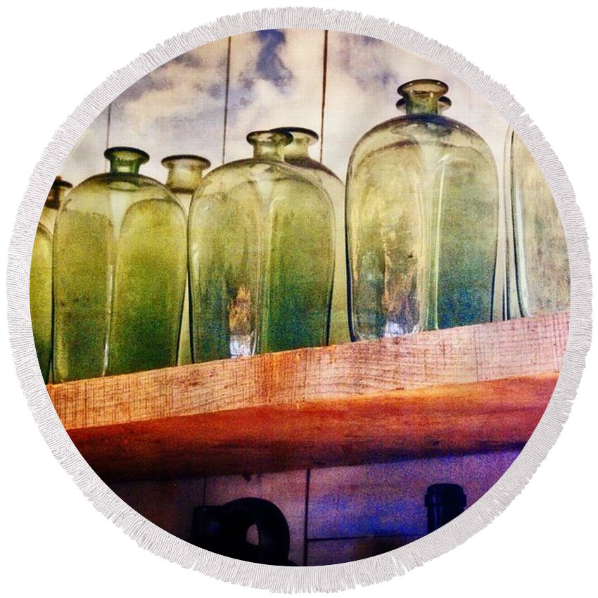 Bottles Round Beach Towel featuring the photograph Bottle Row by Marty Koch