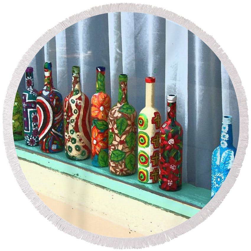 Bottles Round Beach Towel featuring the photograph Bottled Up by Debbi Granruth