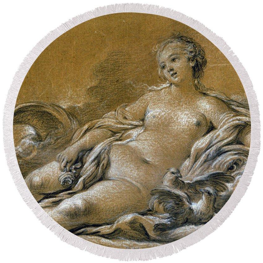 18th Century Round Beach Towel featuring the photograph Boucher: Venus by Granger