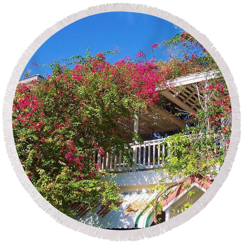 Flowers Round Beach Towel featuring the photograph Bougainvillea Villa by Debbi Granruth