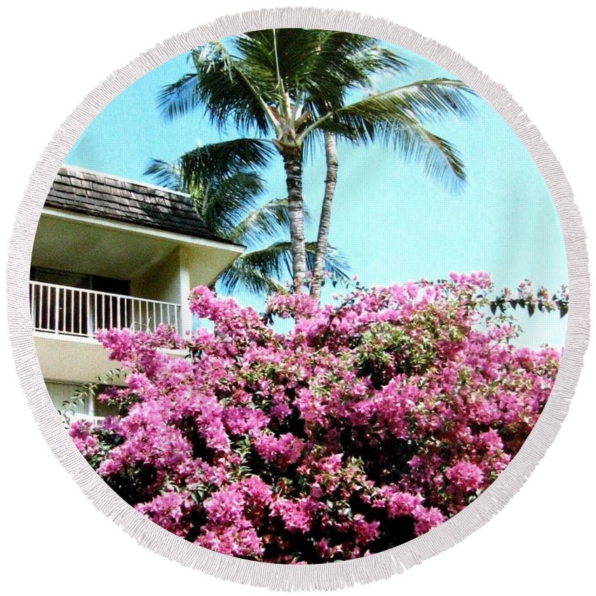 1986 Round Beach Towel featuring the photograph Bougainvillea by Will Borden