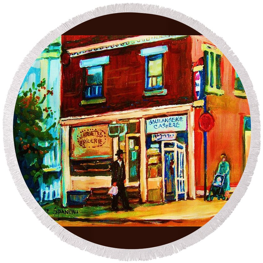 Kosher Bakery Round Beach Towel featuring the painting Boulangerie Cachere by Carole Spandau
