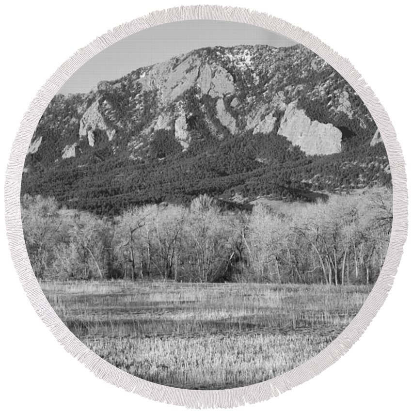 'flatiron' Round Beach Towel featuring the photograph Boulder Colorado Flatiron View From Jay Rd Bw by James BO Insogna