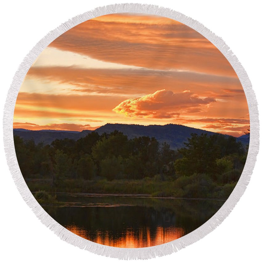 nature Photography Round Beach Towel featuring the photograph Boulder County Lake Sunset Vertical Image 06.26.2010 by James BO Insogna